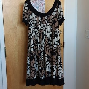 Black brown and cream floral print dress SALE